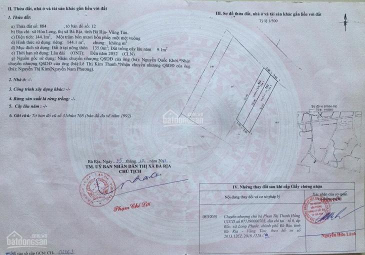 Bán đất mặt tiền đường 36, Tỉnh Lộ 52, Hòa Long, thành phố Bà Rịa, liên hệ: 0901325595