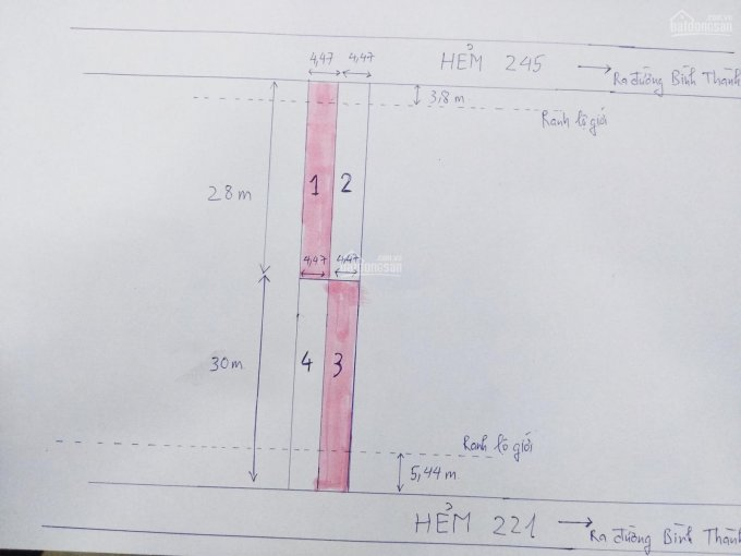 Đất phân lô hẻm 221 - 245 Bình Thành - Bình Tân, 4,47x28m, 4 tỷ, hẻm xe tải thông thoáng. Đất ODT