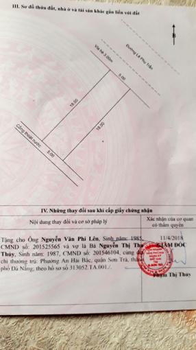 Chính chủ bán gấp lô đất mặt tiền Lê Phụ Trần, Sơn Trà lh 0931978199