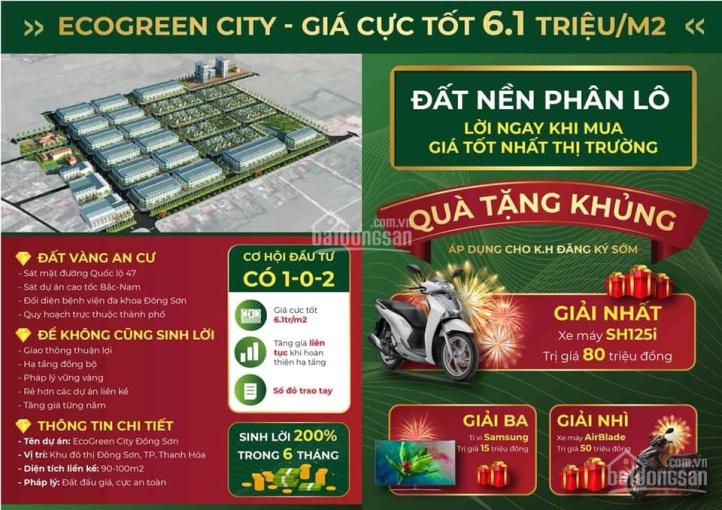 Đất nền QL47, Đông Sơn, TP. Thanh Hóa chỉ 5tr7/m2, cam kết sinh lời khi đầu tư. LH 085.2468.359