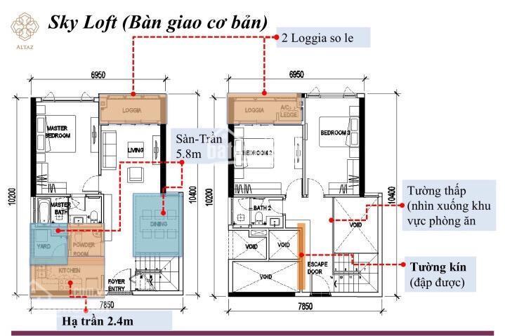 Bán Sky Loft duplex A1x.03 3PN tầng trung, 132.55m2 view city, sông, giá 6.7 tỷ. Call 0931 34 12 27