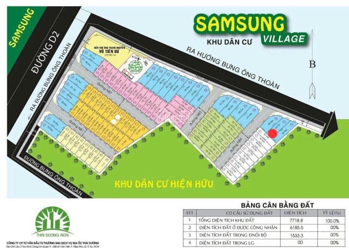 Lô đất rộng, đẹp dự án SamSung Village đường Bưng Ông Thoàn, 81m2