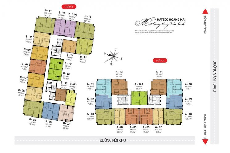 Bán các căn hộ DT 48 - 50 - 60 - 91 - 106m2, CC Hateco Hoàng Mai, giá 1.28 - 2.2 tỷ, 0946113456 ảnh 0