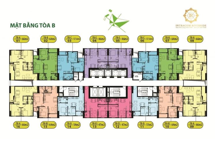 Bán nhanh CH chung cư Intracom Riverside, căn 1615, tòa B, DT 65m2, giá 20.5tr/m2. LH: 0986854978