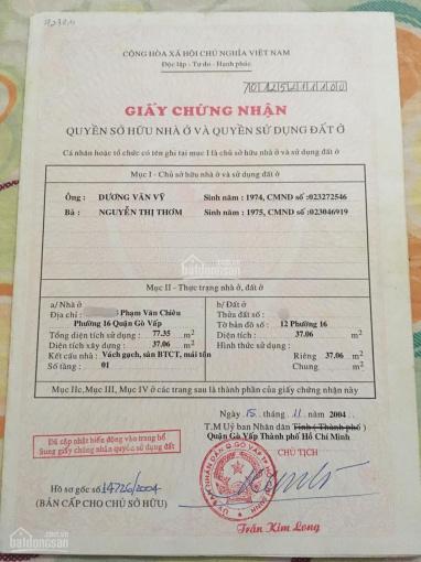 Cần bán gấp nhà hẻm 488 Phạm Văn Chiêu, Phường 16, Quận Gò Vấp. Tặng lại toàn bộ nội thất