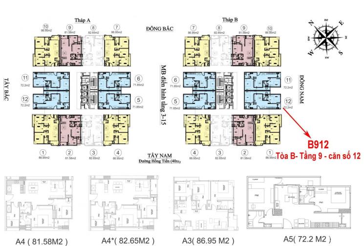 Cần bán căn 2PN đẹp nhất dự án HC Golden City B912 71,6m2 2,9 tỷ hướng Đông Nam. LH 0813.666.111