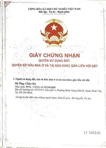 Bán lô đất mặt tiền đường A2 KDC Vĩnh Lộc, Bình Tân 6x19m giá 7,15 tỷ. Tel 0908687704