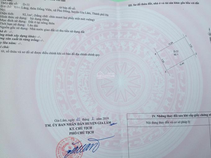 Chính chủ cần bán đất 92m2, sổ đỏ chính chủ tại thôn Đổng Viên, xã Phù Đổng, Gia Lâm