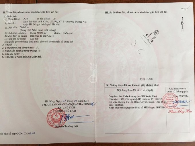 Chính chủ cần bán đất khu đấu giá Dương Nội - Quận Hà Đông - Hà Nội - LH 0979773833