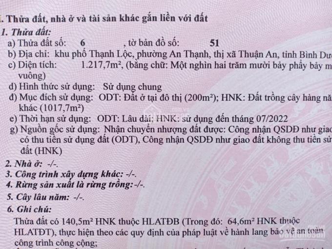 Bán đất đường An Thạnh 08, khu phố Thạnh Lộc, phường An Thạnh, Thuận An, Bình Dương.