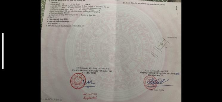 Chính chủ bán lô đất 61m2 thôn Cựu Quán, Xã Đức Thượng, Hoài Đức gần khu chung cư Tân Việt