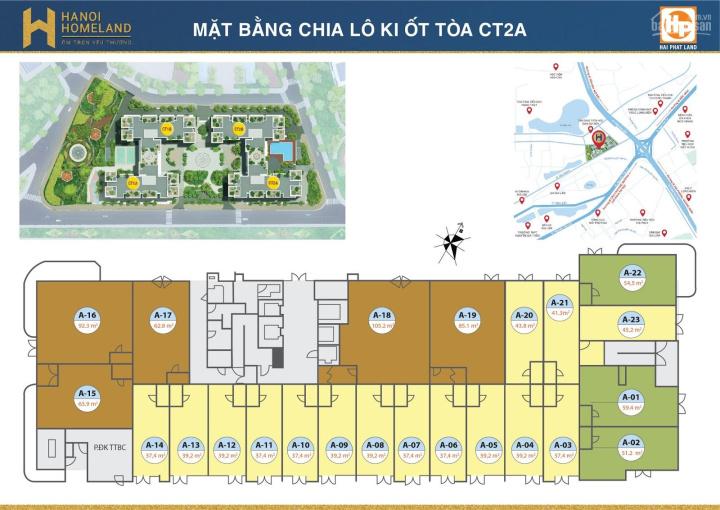 Bán ki ốt Hà Nội Homeland, tòa CT2A, diện tích: 57m2, MT 4m giá bán 39 triệu/m2. LH 0934568193