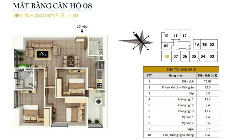 Bán căn góc 08, 76m2, 3PN tại CC FLC Star Tower 418 Quang Trung, Hà Đông, giá 1,5 tỷ. LH 0946543583
