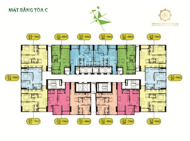Anh Trung bán gấp chung cư Intracom Riverside căn 1602 tòa C DT 60m2 giá 22tr/m2, LH 0971285068