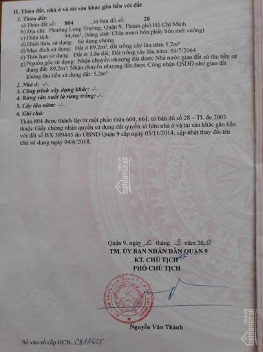 Chính chủ cần bán lô đất đường Số 1, Nguyễn Duy Trinh, Long Trường, Q9, sang tên ngay 0982.209.734