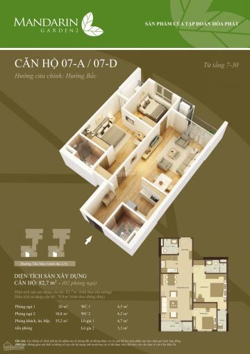 Bán gấp căn hộ 82,7m2 tầng trung, giá 2.3 tỷ bao toàn bộ phí
