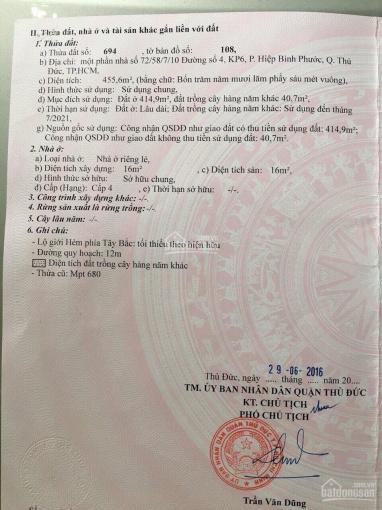Chính chủ bán gấp 456m2 đất 2 mặt tiền phường Hiệp Bình Phước, Q Thủ Đức, TP HCM. LH 0968648566