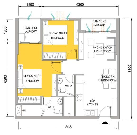 Bán căn 2PN 2WC ở M-One quận 7, có nội thất giá bán 2.7 tỷ bao chi phí làm giấy tờ - LH: 0773901588