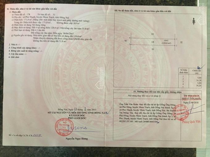 Chính chủ gửi bán lô đất 171m2, hẻm ô tô xã Phú Thạnh