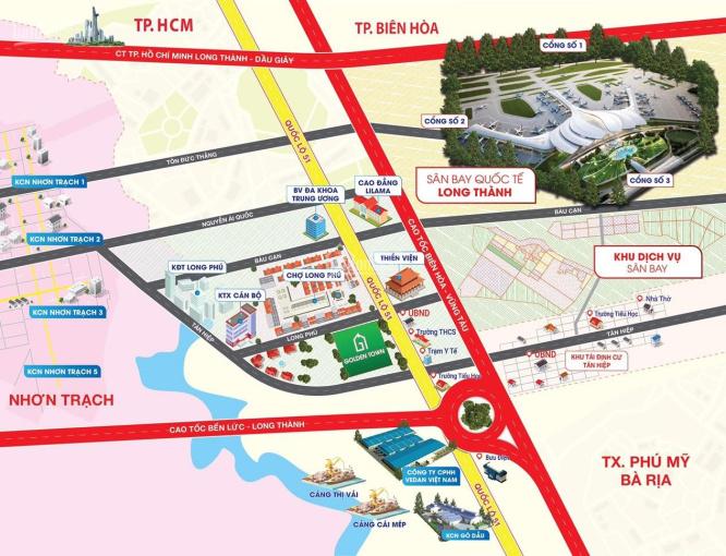 Golden tow dự án duy nhất có sổ tại cổng 2 sb quốc tế lt 100% thổ cư xdtd 890tr/120m2 090149482