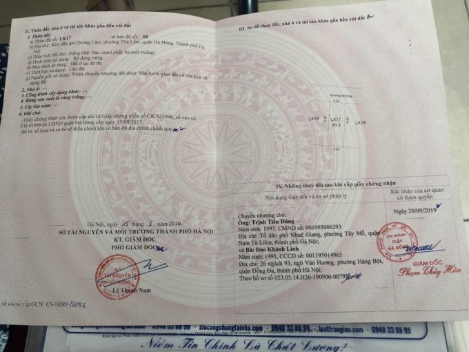 Chính chủ bán đất đấu giá Quang Lãm 60,3m2 - 1,9 tỷ. LH: 0707999555