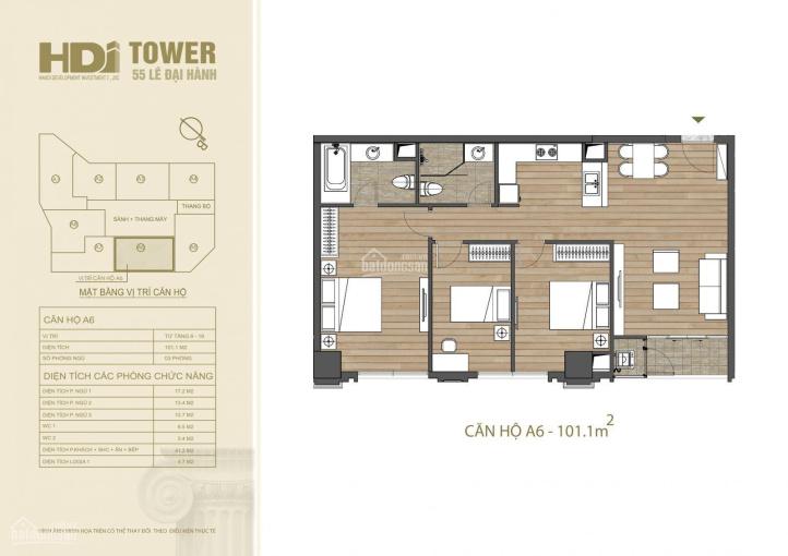 Căn hộ trong mơ tại HDI Tower 55 Lê Đại Hành, trung tâm HN, 84 triệu/m2, tặng 100tr, LH: 0979220466