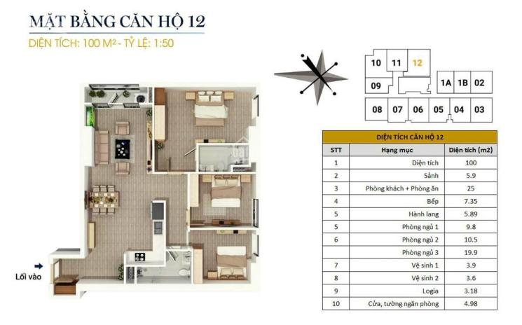 0946543583. Bán căn góc 100m2, 3pn, nội thất cơ bản, giá 1,85 tỷ tại CC FLC Star Tower Quang Trung