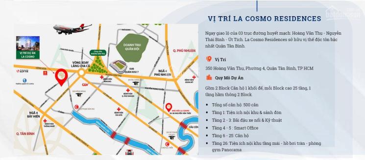 Bán căn hộ La Cosmo ngay CV Hoàng Văn Thụ, 62m2 + lửng 36m2 (3PN - 3WC), 4.36 tỷ (có VAT + PBT) ảnh 0