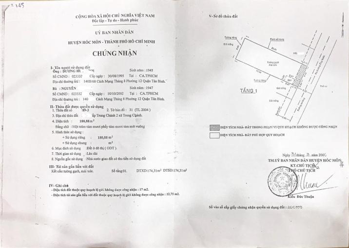 Bán đất có sẵn nhà xưởng gần 400m2, hẻm 2 xe tải né nhau tại Trung Chánh, Hóc Môn