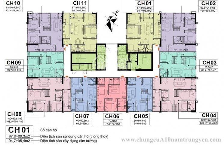 Bán lỗ căn góc 3PN, T1511 CT1, DT 89m2, CC A10 Nam Trung Yên, giá 28tr/m2 (BT) chính chủ 0961958301
