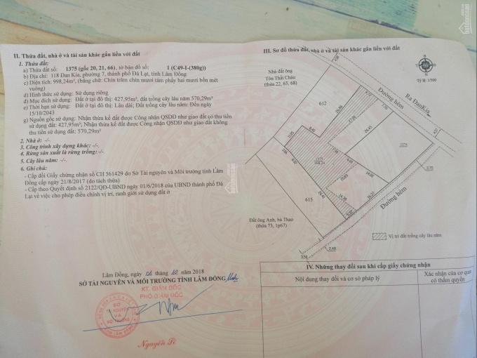 Gia đình chuyển về Đức Trọng nên bán 1000m2 có 427m2 TC, 117 Đan Kia, P7, TP Đà Lạt, giá 15tr/m2