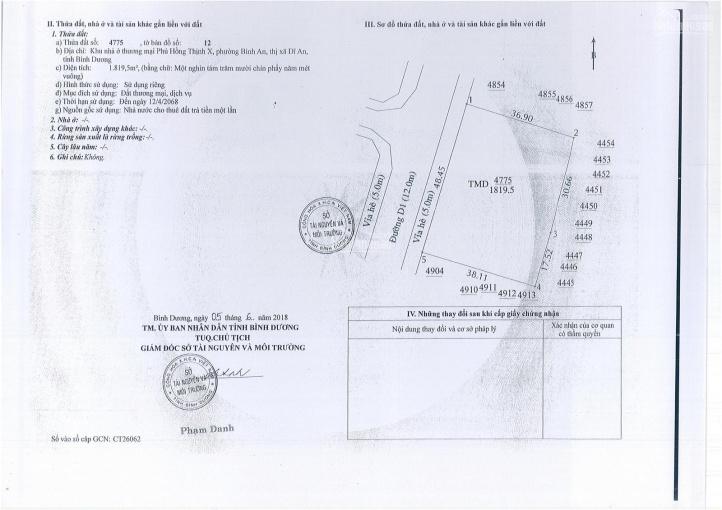 Cần bán lô đất trung tâm thương mại ngay trung tâm TX Dĩ An