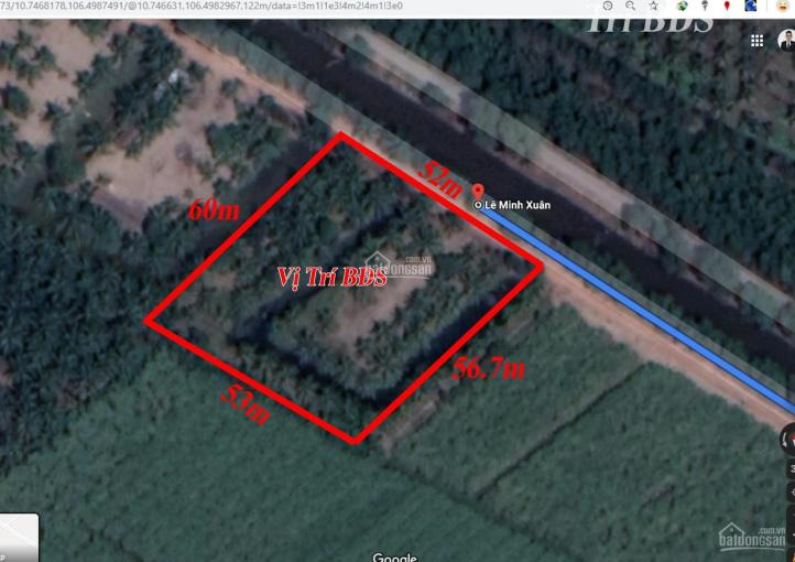 Trí BĐS, đất vườn 2.916m2 mặt tiền đường bờ Nam Kênh 10, Lê Minh Xuân, đường đất 4m