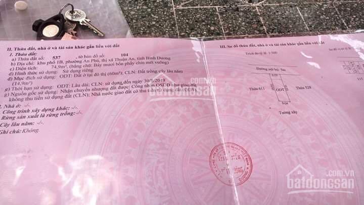 Chính chủ bán đất sổ hồng riêng ngay vòng xoay An Phú DT 75m2, thổ cư 60m2, giá chỉ 1tỷ380