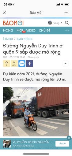 Thông tin đất quy hoạch mở rộng đường MT Nguyễn Duy Trinh, giá khởi điểm đầu tư 18tr/m2, 0932276366