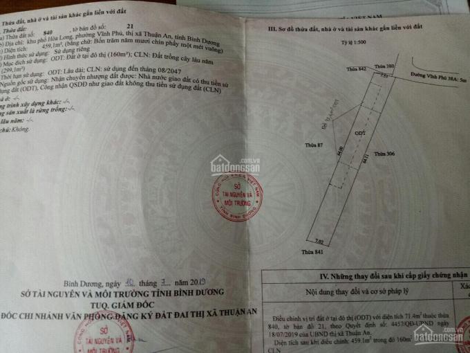 Cần bán lô đất 459,1m2 (TC 160m2) Vĩnh Phú 40, giá 1.320 tỷ/nền, cách QL13 200m SHR, 0906630570