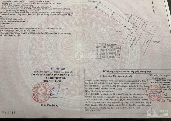 Bán nhà mặt tiền Ngô Chí Quốc, DT 222m2 (7x31m), thổ cư 100% buôn bán rất sầm uất, giá từ 8,5 tỷ