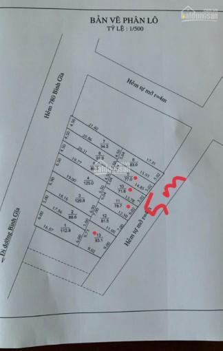 Đất hẻm 780 Bình Giã, P10, TPVT, sổ đồng sở hữu bìa riêng, bao xây dựng, 750tr/lô, 0938.605.093