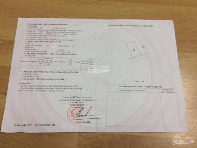 Cần bán 22m mặt đường DT 718m2 mặt đường xã Vân Hoà, Ba Vì, HN