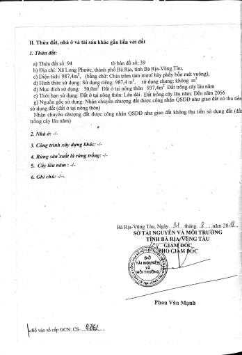 Bán đất mặt tiền Hương Lộ 2, Long Phước, TP. Bà Rịa, diện tích: 20x50m2, Giá bán: 5.89 tỷ
