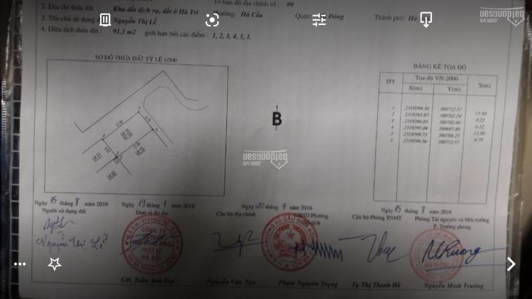 Bán đất dịch vụ Hà Trì, phường Hà Cầu, Hà Đông, Hà Nội, diện tích 91m2, giá 72 triệu/m2