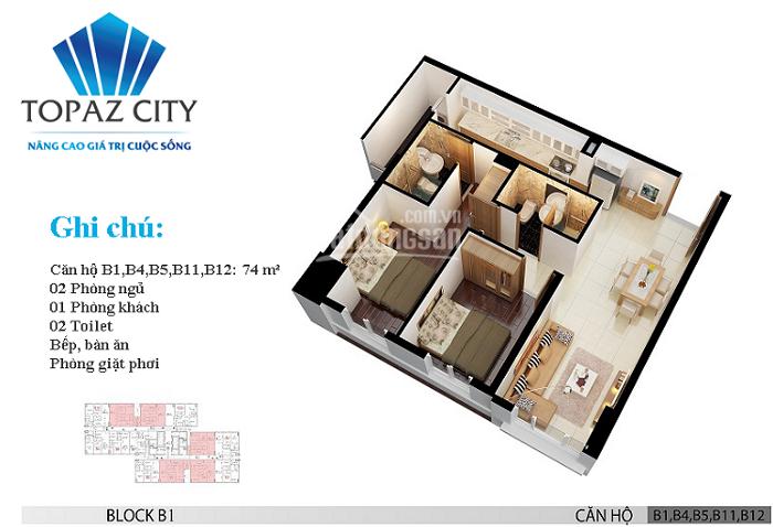 Căn hộ chung cư Topaz City: Block B1, tầng 12a, với 2 phòng ngủ, 2 nhà vệ sinh, diện tích 74m2