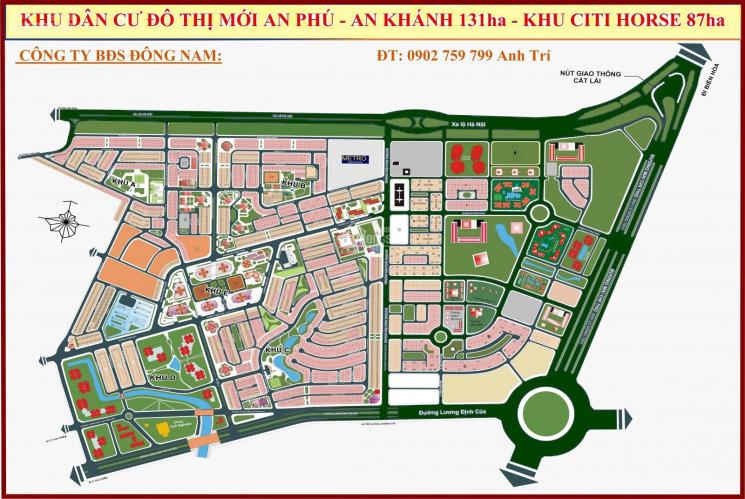 Bán đất An Phú An Khánh, Q2, 6mx20m = 129m2, Đ12m, hướng Bắc 126 tr/m2. 0902759799 anh Trí