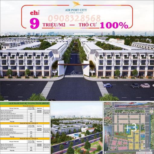 Gần sân bay gần cả thế giới chỉ với 9tr/m2 pháp lý đầy đủ sổ hồng từng nền, LH 0908328568