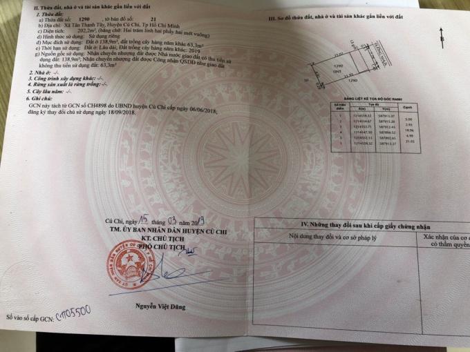 Cần bán đất thổ cư gần UBND xã Tân Thạnh Tây, Củ Chi. DT: 132m2, giá: 1.5 tỷ, LH: 0868497878