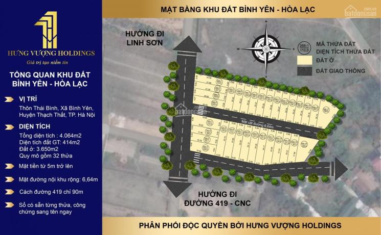 Bán đất nền Hoà Lạc, sát khu công nghệ cao Hoà Lạc Hà Nội, giá 700tr/lô, sổ full thổ cư 0904573669
