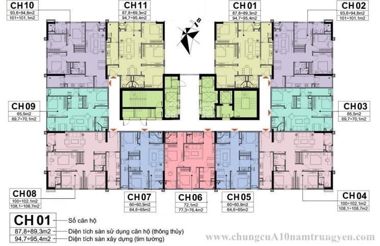 Bán CHHC A10 - 14 Nam Trung Yên 1505 - 60m2,1503 - 65,5m2,1804 - 100m2 giá từ 30tr/m2, 0966292726