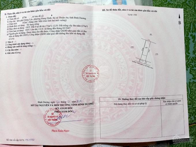 Bán đất Hưng Định, ngay Bình Nhâm 5.12x20m, giá chỉ 1 tỷ 8