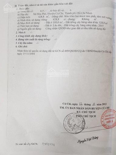 Thổ cư 100%, SHR, đường 12m, mặt tiền Võ Thị Hết, Hòa Phú, Củ Chi ảnh 0