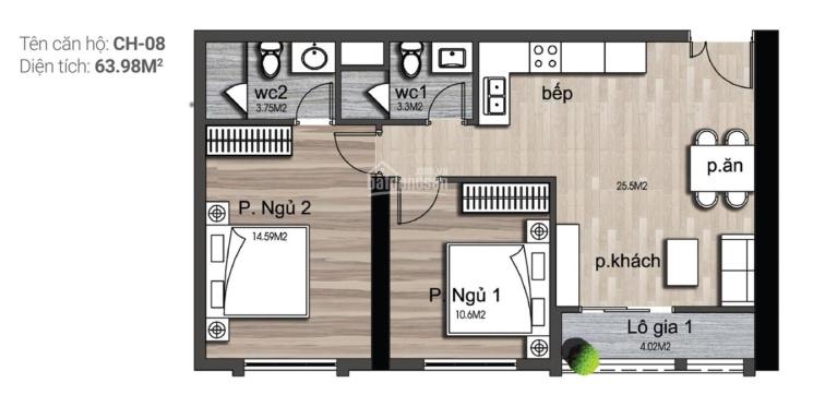Bán căn hộ 2PN - 2WC diện tích 64m2 dự án Luxury Park Views. Liên hệ: 0917349123 ảnh 0